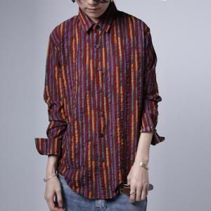 トップス シャツ ストライプ 柄 配色 デザインストライプシャツ・1月12日20時〜発売。(80)メール便可|antiqua