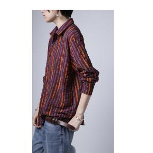 トップス シャツ ストライプ 柄 配色 デザインストライプシャツ・(80)メール便可|antiqua|12