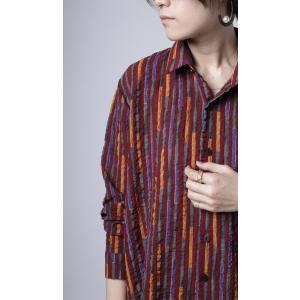 トップス シャツ ストライプ 柄 配色 デザインストライプシャツ・(80)メール便可|antiqua|13