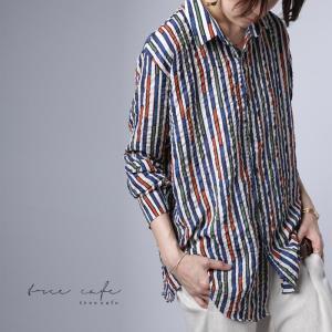 トップス シャツ ストライプ 柄 配色 デザインストライプシャツ・(80)メール便可|antiqua|15
