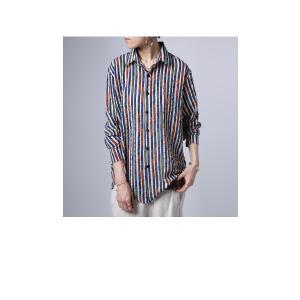 トップス シャツ ストライプ 柄 配色 デザインストライプシャツ・(80)メール便可|antiqua|03