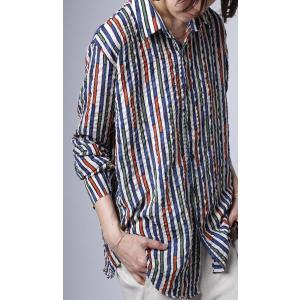 トップス シャツ ストライプ 柄 配色 デザインストライプシャツ・(80)メール便可|antiqua|09