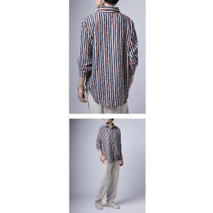 トップス シャツ ストライプ 柄 配色 デザインストライプシャツ・(80)メール便可|antiqua|10