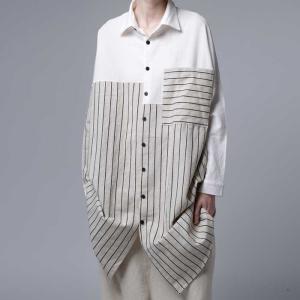 トップス シャツ 長袖 シャツワンピ 綿麻 ストライプロングシャツ・2月9日20時〜発売。##メール便不可|antiqua