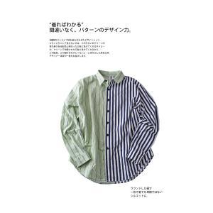 トップス シャツ 長袖 ストライプ 綿 綿100% ストライプシャツ・6月8日20時〜再販。##メール便不可 antiqua 05