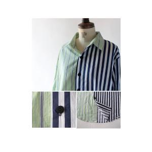 トップス シャツ 長袖 ストライプ 綿 綿100% ストライプシャツ・6月8日20時〜再販。##メール便不可 antiqua 06