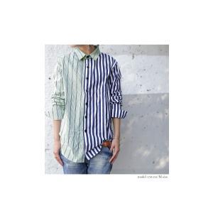 トップス シャツ 長袖 ストライプ 綿 綿100% ストライプシャツ・6月8日20時〜再販。##メール便不可 antiqua 08