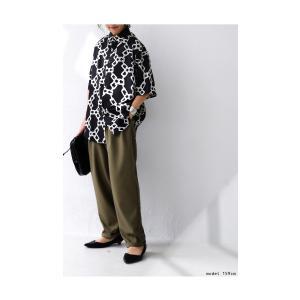 トップス シャツ 半袖 五分袖 チェーン柄 ブラック 五分袖柄シャツ・5月23日20時〜再再販。30ptメール便可 antiqua 05