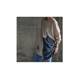 トップス プルオーバー 長袖 綿 綿100% バイカラー BIGポケットトップス・5月25日20時〜再販。(100)メール便可|antiqua|03