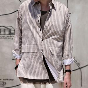 ファイナルバーゲン。トップス メンズ シャツ 長袖 ビッグシルエット ストライプシャツ・(100)メール便可(返品・キャンセル・交換不可。)|antiqua