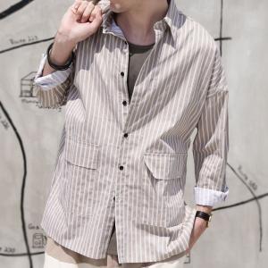 ファイナルバーゲン。トップス メンズ シャツ 長袖 ビッグシルエット ストライプシャツ・(100)メール便可(返品・キャンセル・交換不可。)|antiqua|13