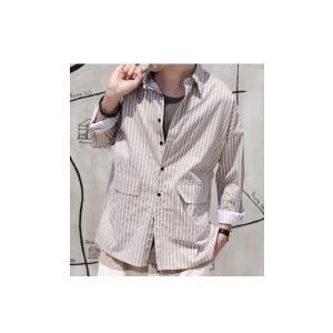 ファイナルバーゲン。トップス メンズ シャツ 長袖 ビッグシルエット ストライプシャツ・(100)メール便可(返品・キャンセル・交換不可。)|antiqua|03