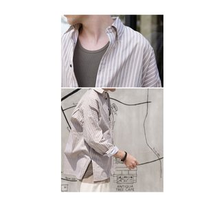 ファイナルバーゲン。トップス メンズ シャツ 長袖 ビッグシルエット ストライプシャツ・(100)メール便可(返品・キャンセル・交換不可。)|antiqua|09