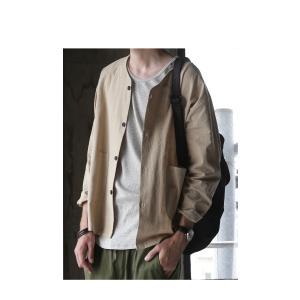 トップス アウター ジャケット カーデ 長袖 メンズ 綿麻ノーカラーシャツジャケット・8月3日20時〜再販。「G」(100)メール便可|antiqua|10