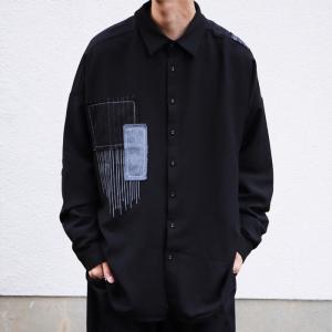 トップス シャツ 長袖 メンズ ブラック セットアップ ステッチデザインシャツ・1月18日20時〜再販。「G」##メール便不可 antiqua