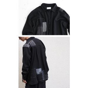 トップス シャツ 長袖 メンズ ブラック セットアップ ステッチデザインシャツ・1月18日20時〜再販。「G」##メール便不可 antiqua 03