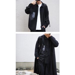 トップス シャツ 長袖 メンズ ブラック セットアップ ステッチデザインシャツ・1月18日20時〜再販。「G」##メール便不可 antiqua 04