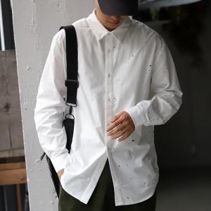 トップス シャツ 長袖 白シャツ インク ユニセックス インク柄シャツ・再販。「G」##メール便不可|antiqua
