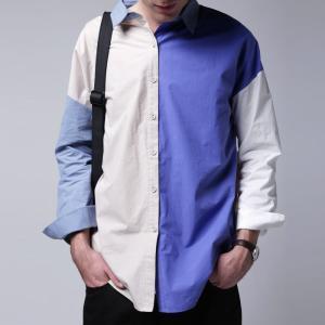 トップス シャツ 長袖 配色 ユニセックス メンズ ブロッキングカラーシャツ・3月2日20時〜発売。(80)メール便可|antiqua