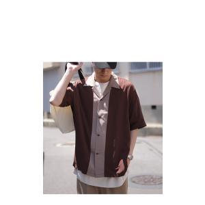 トップス シャツ メンズ 半袖 レーヨン バイカラー ユニセックス レトロバイカラーシャツ・メール便不可 antiqua 10