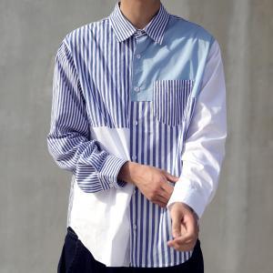 トップス シャツ 綿 ストライプ ストライプ切替シャツ・3月16日20時〜再販。 「G」##メール便不可|antiqua