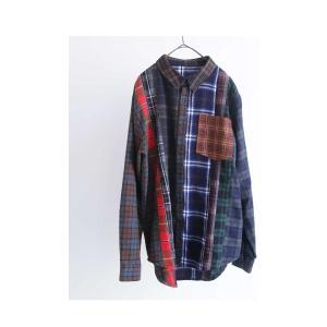 トップス シャツ 長袖 レディース 綿 綿100 ユニセックス ブロッキングチェックシャツ・1月11日20時〜発売。##メール便不可|antiqua|11