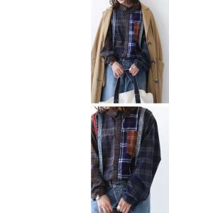 トップス シャツ 長袖 レディース 綿 綿100 ユニセックス ブロッキングチェックシャツ・1月11日20時〜発売。##メール便不可|antiqua|13