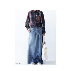 トップス シャツ 長袖 レディース 綿 綿100 ユニセックス ブロッキングチェックシャツ・1月11日20時〜発売。##メール便不可|antiqua|14
