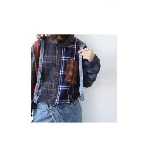 トップス シャツ 長袖 レディース 綿 綿100 ユニセックス ブロッキングチェックシャツ・1月11日20時〜発売。##メール便不可|antiqua|04