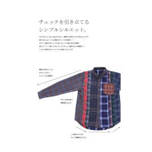 トップス シャツ 長袖 レディース 綿 綿100 ユニセックス ブロッキングチェックシャツ・1月11日20時〜発売。##メール便不可|antiqua|05