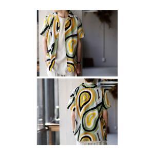 トップス シャツ 半袖 メンズ 総柄 配色 ユニセックス レトロ柄シャツ・50ptメール便可 antiqua 13