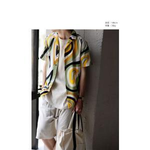 トップス シャツ 半袖 メンズ 総柄 配色 ユニセックス レトロ柄シャツ・50ptメール便可 antiqua 03