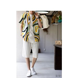 トップス シャツ 半袖 メンズ 総柄 配色 ユニセックス レトロ柄シャツ・50ptメール便可 antiqua 08