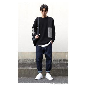 メンズ カジュアル アシメ ミニ裏毛アシメ切替えトップス・3月2日20時〜再再販。「G」(100)メール便可|antiqua|09