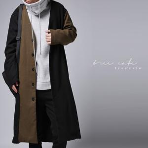 サイズ展開。さらり羽織ってコジャレてる。配色コート・再再販。##メール便不可「G」 antiqua