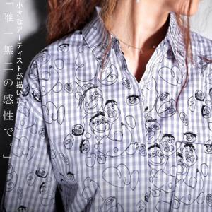 シャツ 綿100% ギンガム トップス 手描き絵デザインシャツ・再再販。「G」(100)メール便可|antiqua