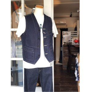 SUGAR CANE(シュガーケーン) 9oz WABASH STRIPE WORK VEST SC12654|antiquebeach