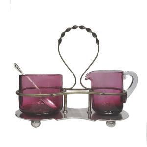 アンティーク  シュガーポット&ミルクピッチャー ガラス食器 白銀トレイ イギリス 1920年製|antiquesjikoh