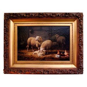 Theo Van Sluys (Belgian, 1849-1931) 「厩舎の羊と鶏」|antiquesjikoh