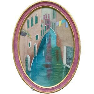 伊勢巧 「せまい水路 ヴィネティア」 絵画 共シール|antiquesjikoh