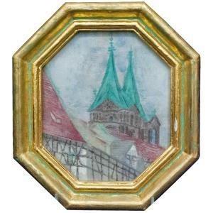伊勢巧 「小大塔を訪ねて ハンベルグ ドイツ」 絵画 共シール|antiquesjikoh