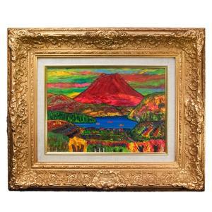 高石国夫 「赤い富士の山」(芦ノ湖) 油彩 F4|antiquesjikoh
