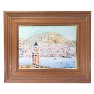 岡田正樹 「横浜港眺望」港が見える丘の朝 油彩 F8号|antiquesjikoh