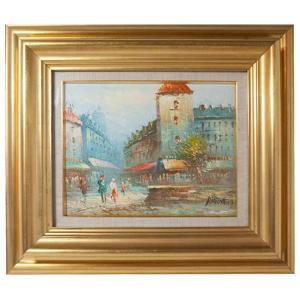 BURNET フランス人画家 パリの風景画 油彩 2号|antiquesjikoh