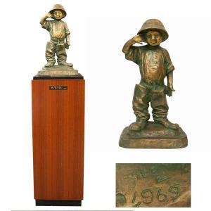 北村西望 「将軍の孫」 1969年製 ブロンズ高さ50cm|antiquesjikoh