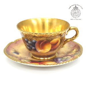 ロイヤルウースター ROYAL WORCESTER ペインテッドフルーツ ティーカップ&ソーサー 英国製|antiquesjikoh