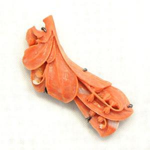帯留 赤珊瑚 鈴蘭 |antiquesjikoh