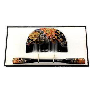 櫛 笄 金蒔絵 漆塗 御所車花文様 松月銘 和装小物|antiquesjikoh