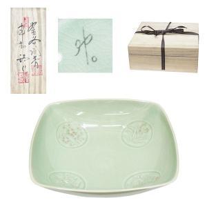 高麗青磁 申相浩 四方鉢 皿 共箱|antiquesjikoh
