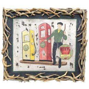 ヴィンテージ加工 木製看板 「ETHYL GASOLINE STAND」|antiquesjikoh